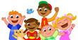 Gruppo di bambini felici e sorridenti, vettore