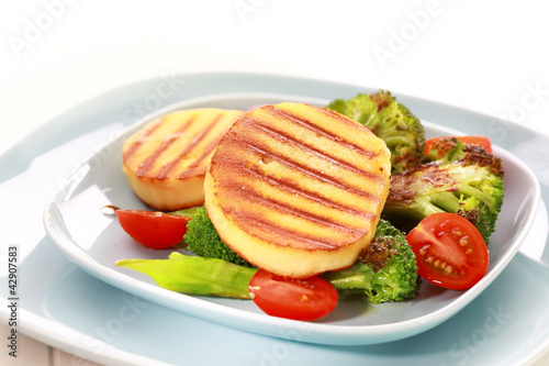 Grilled cheese on grilled vegetables