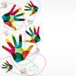 fond abstrait design, mains colorées