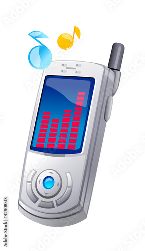 vector icon mobile phone and music