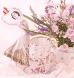 Vintage elegant teacups and flowers
