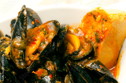 Italian Seafood Soup with mussels and clams.