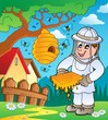 Beekeeper with hive and bees