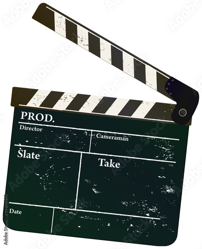 Vintage movie clapper, vector illustration,free copy space