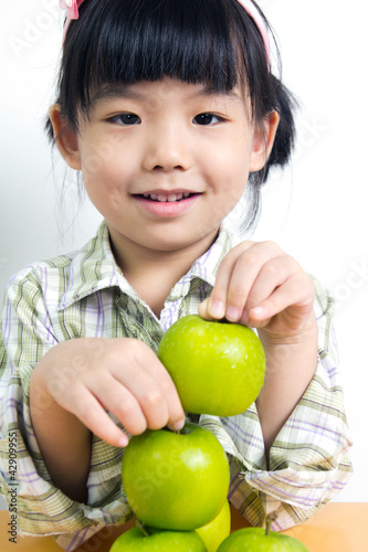 Child with green apple