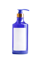blue plastic bottle of liquid soap