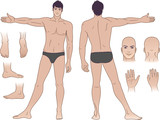Full length (front & back) views of a standing naked man