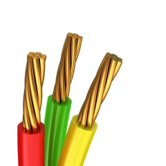 3d illustration of multicolored cables