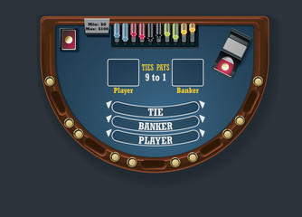 Vector baccarat table layout