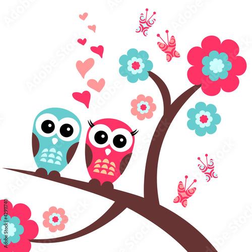 Naklejka Pretty romantic card with owls