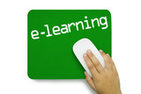 e-learning. Mousepad. Hand