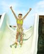 Leinwanddruck Bild - Child on water slide at aquapark.