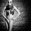 girl in a gas mask