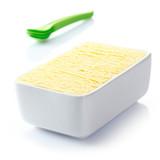 Tub of frozen vanilla icecream