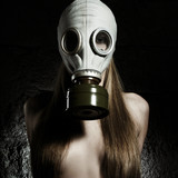 The girl in a gas mask