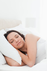 Close-up of a woman in a peaceful sleep