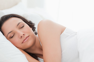 Close-up of a beautiful woman in a peaceful sleep