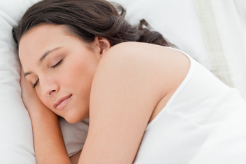 Close-up of a cute woman sleeping