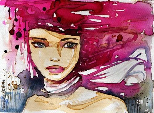 Leinwandbilder,abbildung,bilder,wasserfarben,weiblich