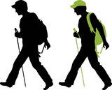 Hiker (backpacker) silhouette walking.