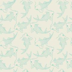 seamless pattern with chinese carps