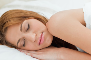 Beautiful redheaded woman sleeping