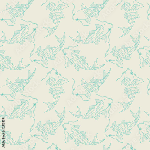 seamless pattern with chinese carps