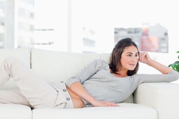 Smiling brunette on her sofa