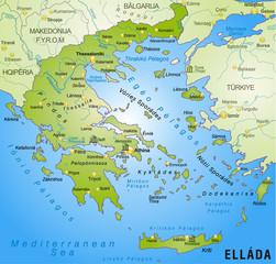 Umgebungskarte von Griechenland mit Hauptstädten