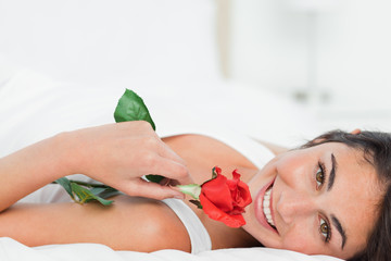 Portrait of a beauty lying on her back while holding a rose