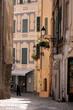 Old narrow stone street in mediterranean Italian town