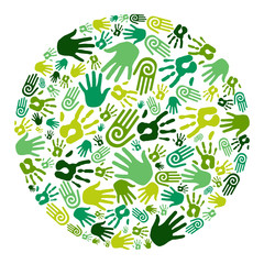 Go green hands circle