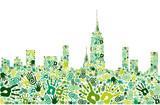 Go green hands city skyline background