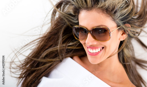 Beautiful summer woman smiling