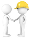 3D little human character shaking hands with the Contractor