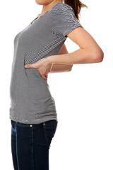 Woman is showing backache.
