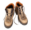 Pair of hiking boots isolated on white background