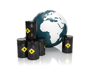 3d illustration: Oil production in large quantities: Barrels of