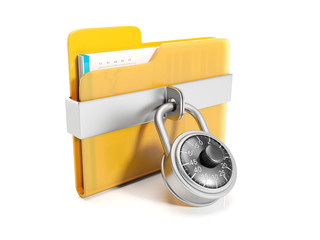3d illustration: Big yellow folder with a combination lock mount