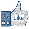 Like sign. Thumbs up created from the words used in social netwo