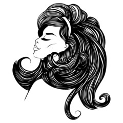 fashion beautiful woman with long curly hair.