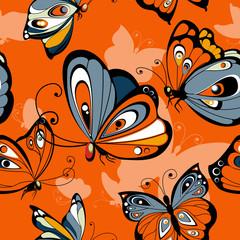 Flying butterflies seamless pattern