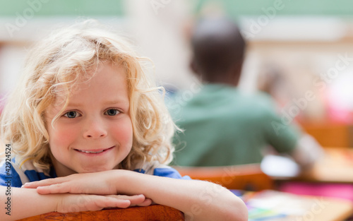 Boy not paying attention to teacher