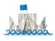 ship with flag paper origami toy vector illustration isolated