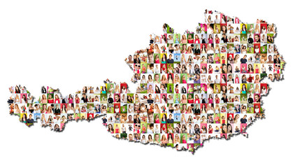 map of austria with a lot of people portraits
