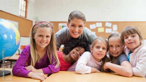 Girls in classroom with their teacher
