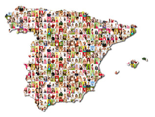 map of spain with a lot of people portraits