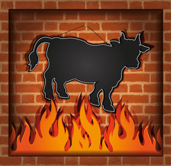 blackboard cow bull fireplace grill