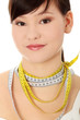 Young woman with tape-measure necklace