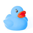 Cute blue rubber duck toy for fun in bath
